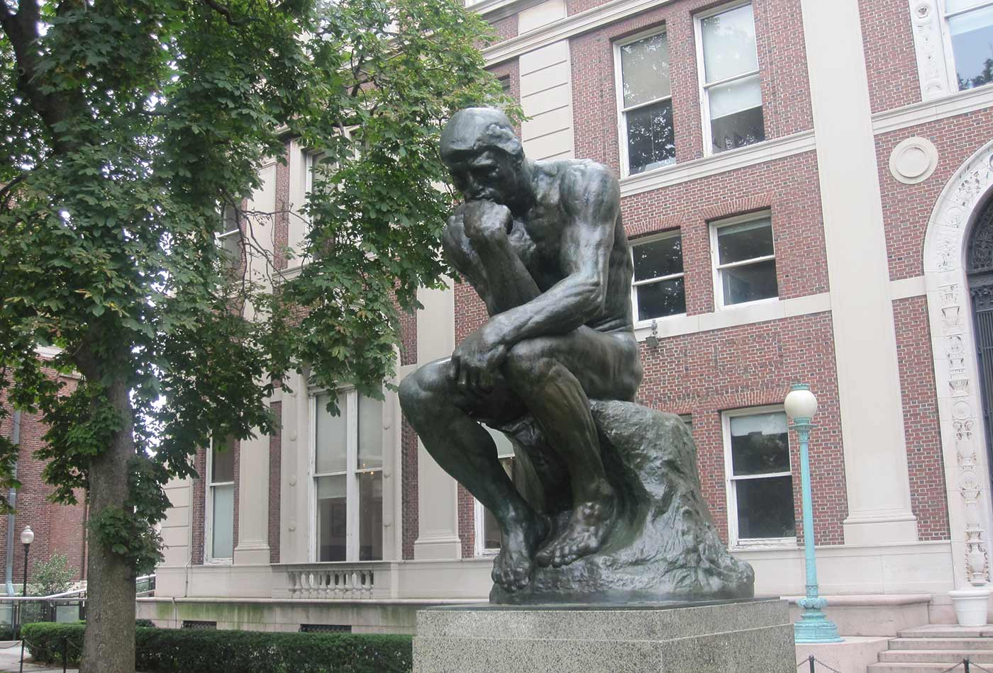 """""""The Thinker"""" statue at Columbia University, NYC."""