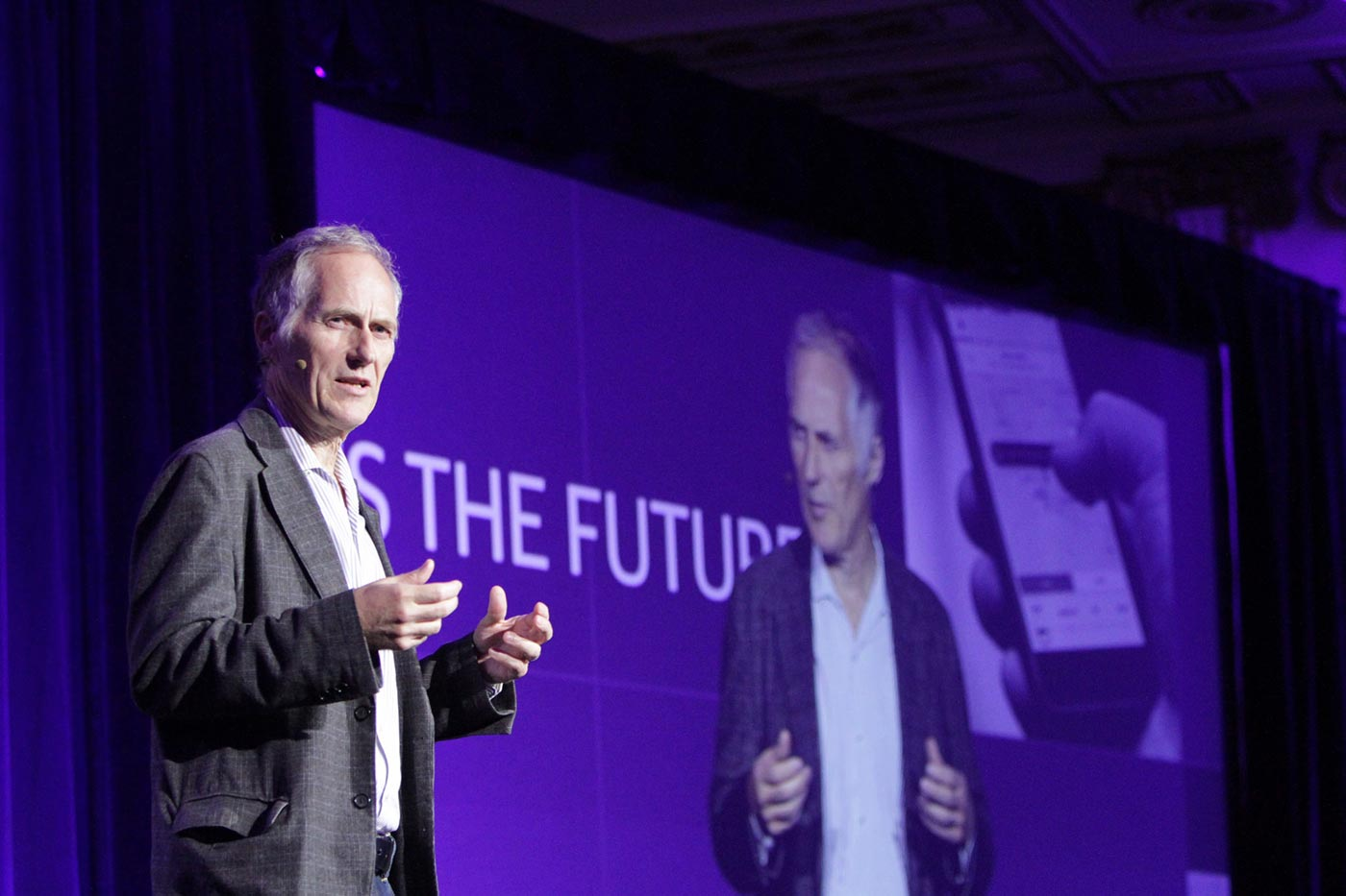 Tim O'Reilly on stage at Next:Economy 2015.