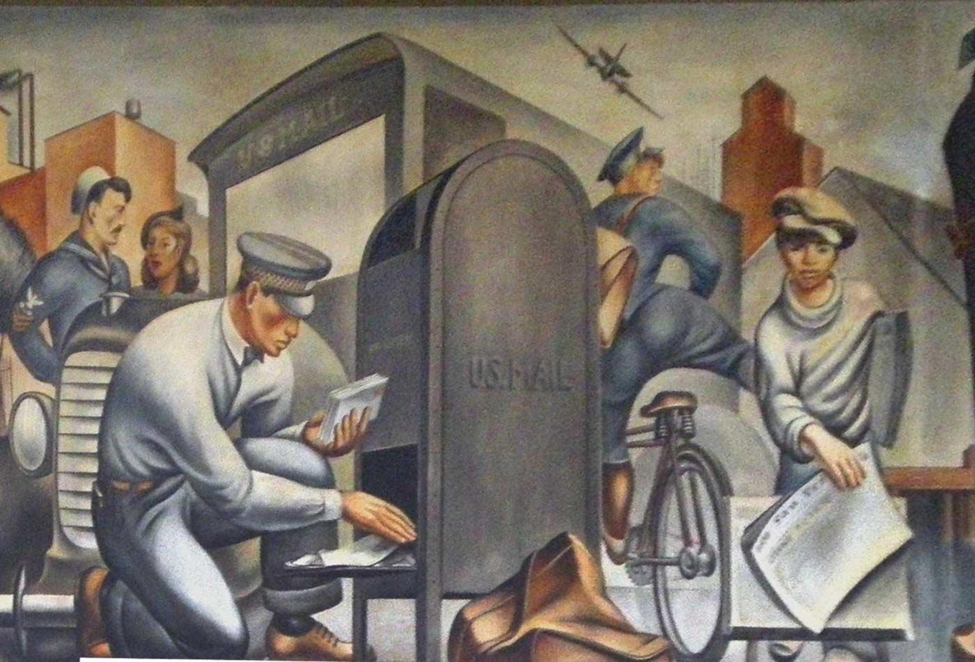 "Mural detail, ""Mail Transportation"" — San Pedro Post Office, San Pedro, California, circa 1935."