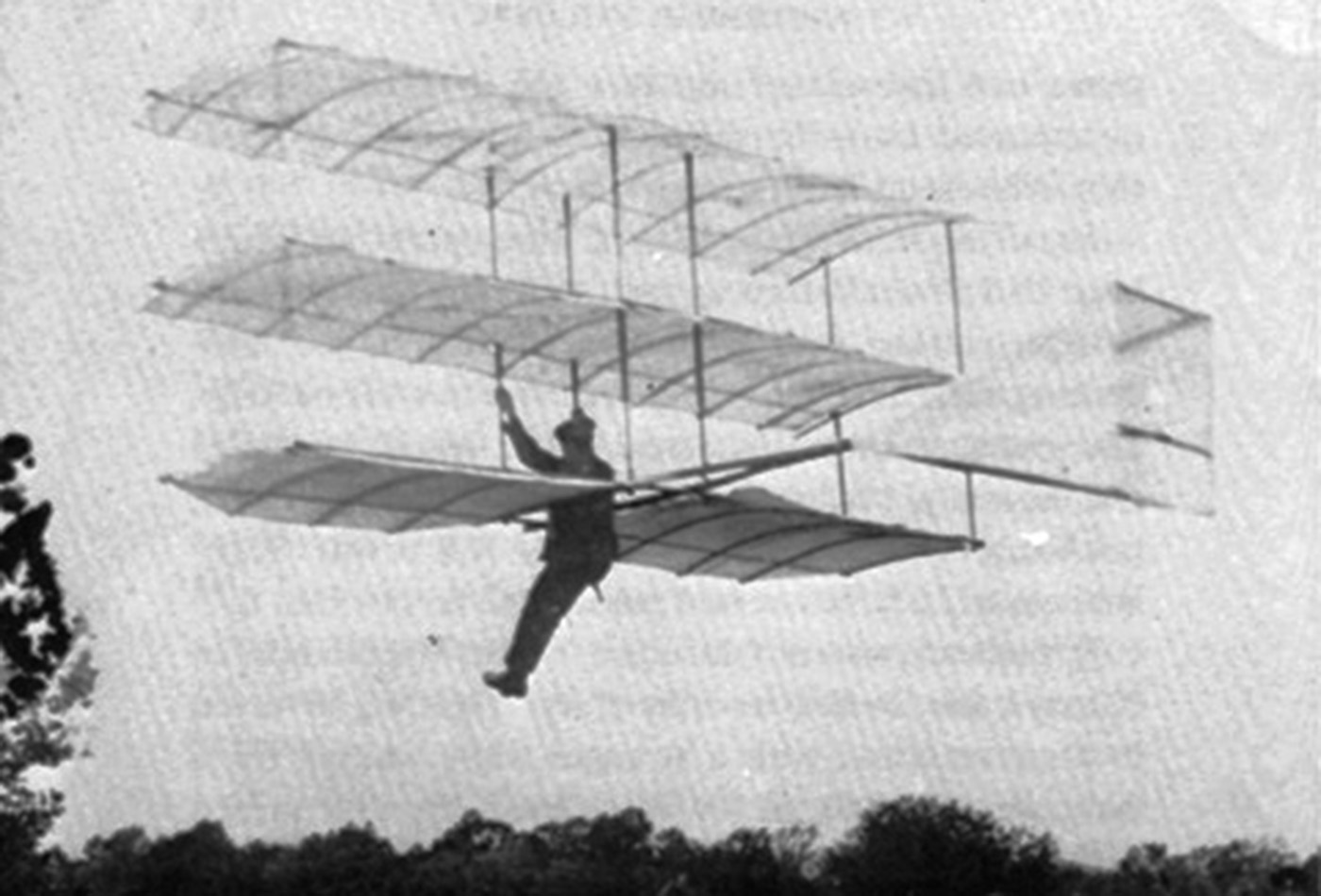 Gustave Whitehead in his Glider.