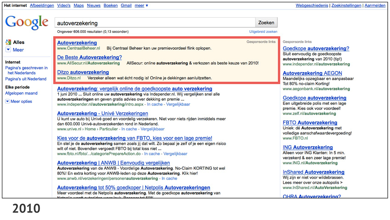 Changes in size and placement of AdWords