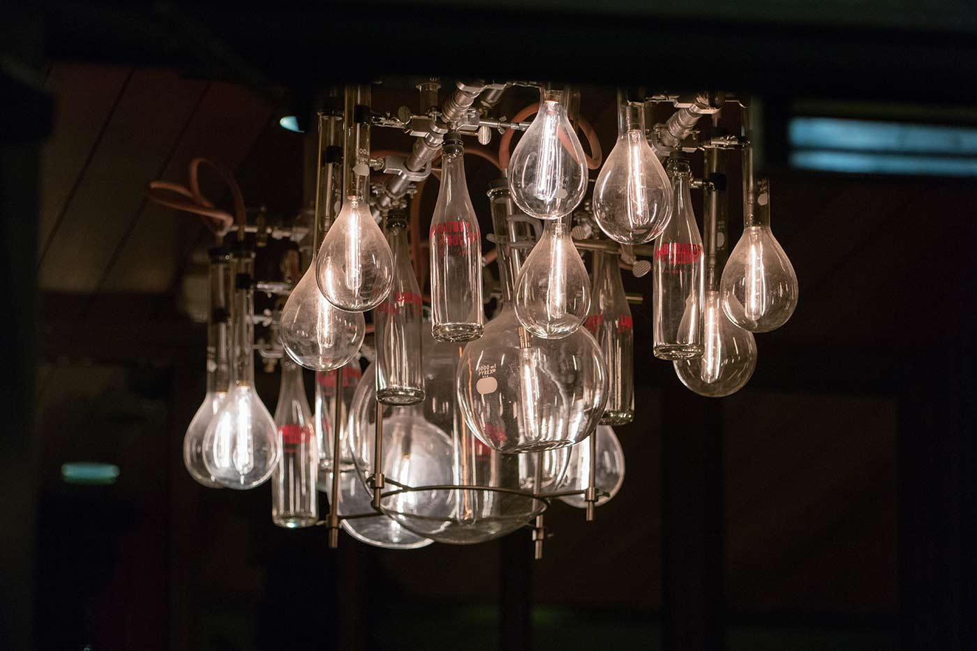 Laboratory beaker chandelier.